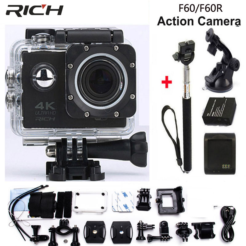 RICH 4K Wifi Action Camera F60 4K/30fps 1080P/60fps 720P/120fps 2.0 170D Helmet Cam Mini Camera Waterproof Action Camera