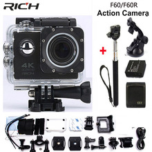 RICH 4K Wifi Action Camera F60 4K/30fps 1080P/60fps 720P/120fps 2.0″ 170D Helmet Cam Mini Camera Waterproof Action Camera