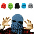 Hot Sale Novelty Handmade Knitting Wool Funny Beard Octopus Hats Caps Mask Crochet Knight Beanies For Men Women Unisex SBY8006