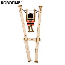 Robotime Children Adult Interesting Jumping Guardian Stress Relief Toy DIY Wooden Novelty Gag Toy Sports & Entertainment LP202(China)