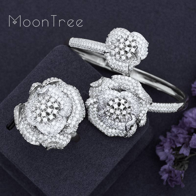 MoonTree Exclusive Lucky Flowers Full Mirco Paved Cubic Zirconia Women Bracelet Bangle Ring Set Dress Jewelry Sets