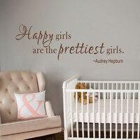 Happy girls are prettiest girls Vinyl Wall Lettering For Girl Nursery Room Vinyl Lettering 30.5cm x 81.3cm