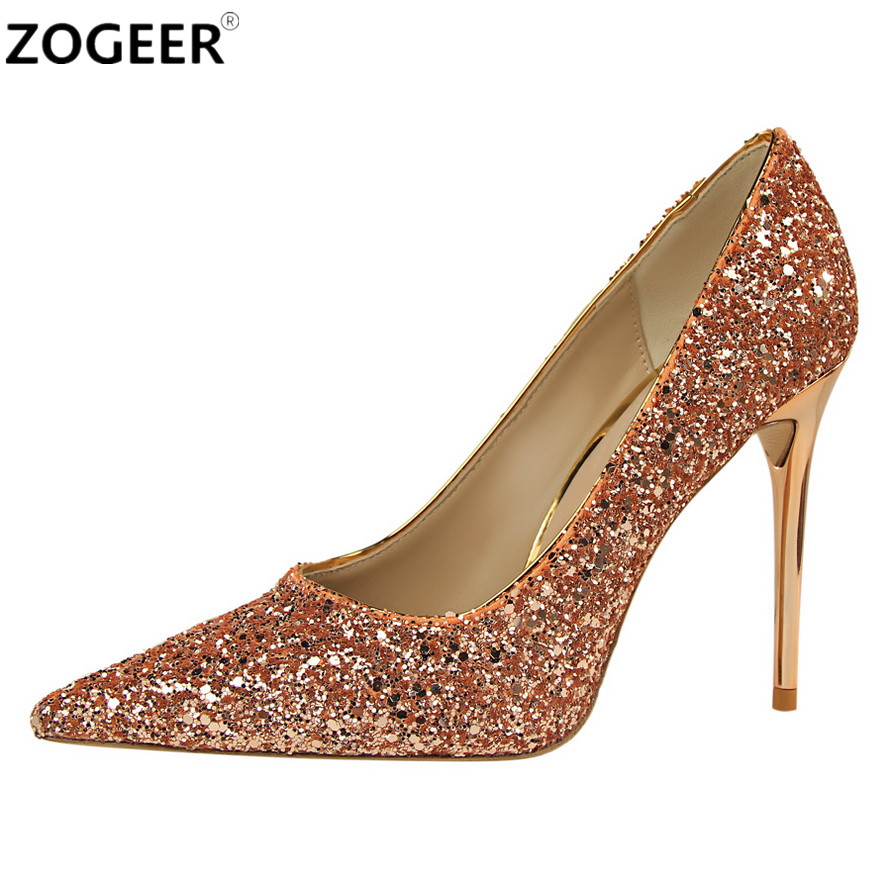 a540c1fa48d3 High Heels Women Pumps Luxury Glitter High Heel Lady Shoes Woman Pointed  Toe Sexy Wedding Party Shoes Gold Silver Blue red - aliexpress.com -  imall.com