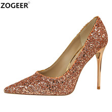 New 2017 High Heels Women Pumps Luxury Glitter High Heel Shoes Woman Pointed Toe Sexy Wedding Party Shoes Gold Silver Blue red(China)