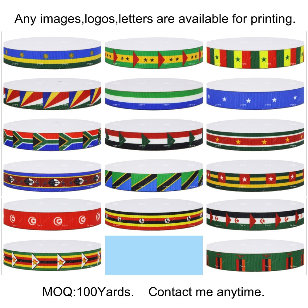 17 Choices National Flag Africa Countries Printed Grosgrain Ribbons For Hair Baby Item Craft Party Candy Gift Home Decoration