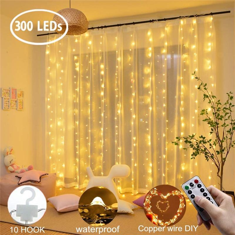 Cortina LED 3x3m 300 LED Cadena de luz USB Hada carámbano alambre de cobre control remoto Navidad boda jardín ventana exterior