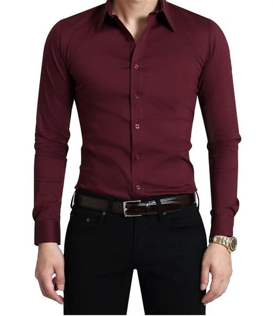 Men long sleeve shirt cultivate one 39 s morality wine red for Wine colored mens dress shirts