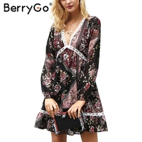 BerryGo Floral Print Ruffle Winter Dress Women V Neck Long Sleeve Autumn Dress Lace Hollow Out