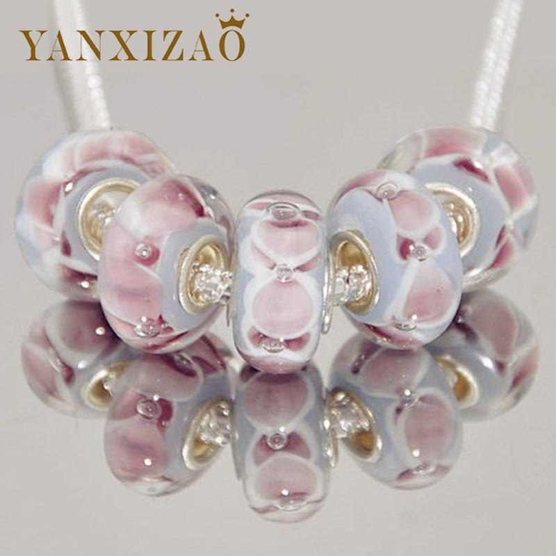 Yanxizao Brand 5pcs Beads Fit Pandora Charms Silver 925 Original Bracelet Murano Lampwork Beads Flower Pattern Fashion Jewelry