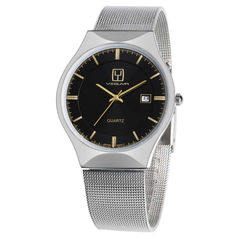 Fashion Top Luxury Brand YISUYA Watches Men Quartz-watch Stainless Steel Mesh Strap Ultra Thin Dial Clock Relogio Masculino bgg brand creative two turntables dial women men watch stainless mesh boy girl casual quartz watch students watch relogio