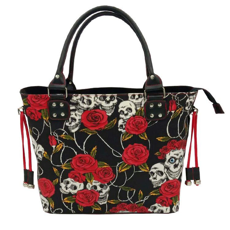 Skeleton Bone Skull Rose Flower Canvas Shoulder Bag Halloween bag For Women Horror Costume Scary Skull 3D Print Red Rose Handbag