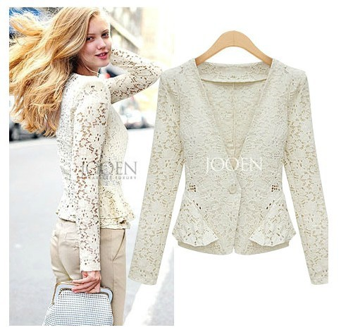 2013 summer fashion ZA lace top slim long-sleeve collarless women's blazer suit outerwear  -  Most Economic shop store