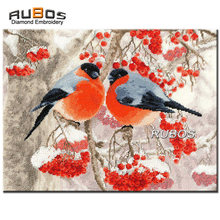 RUBOS DIY 5D bordado de diamantes dos Bullfinches pájaros diamante pintura punto de cruz conjunto diamante Mazayka costura decoración del hogar(China)
