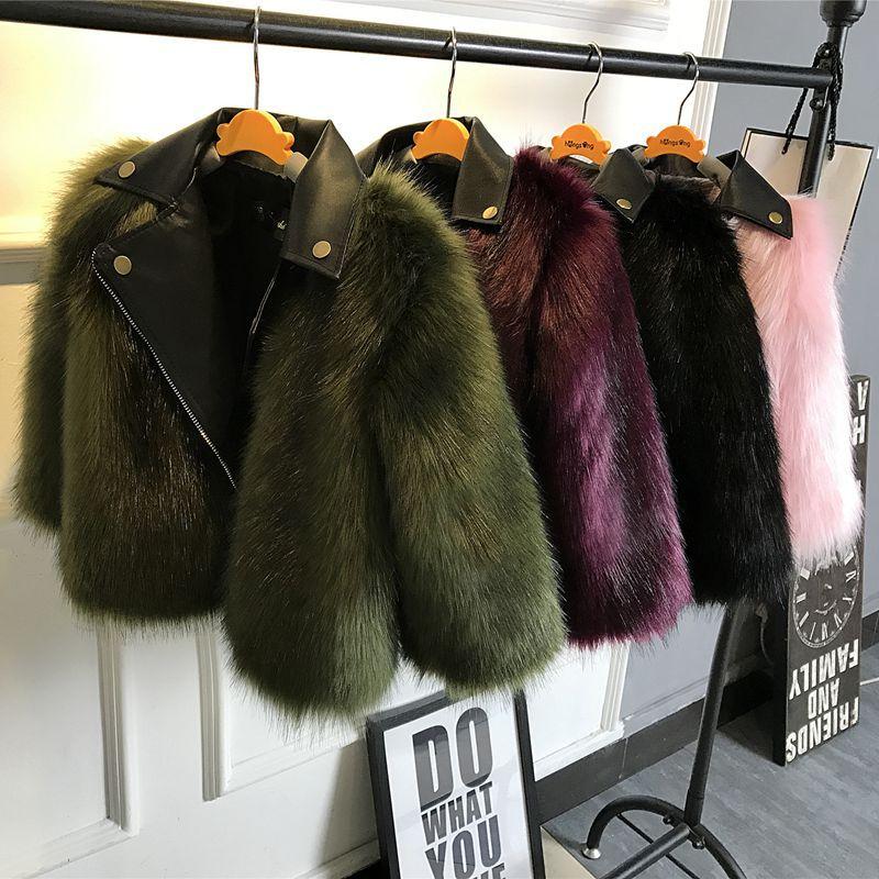 Sunshine Rainy Winter Jackets Girls Faux Fur Coat Girl PU Leather Faux Fur Jacket Fake Two