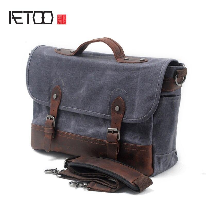 New Oil Wax Canvas Handbag Men's Shoulder Messenger Bag Casual Computer Bag Waterproof Outdoor Camera Bag