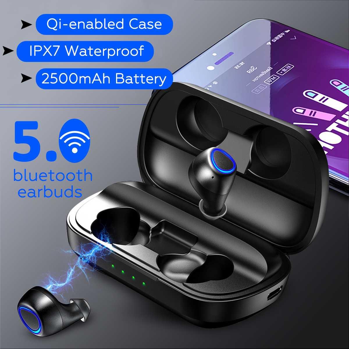 TWS sans fil bluetooth 5.0 écouteurs DSP réduction de bruit QI-compatible IPX7 étanche écouteurs casque avec 2500 mAH batterie externe