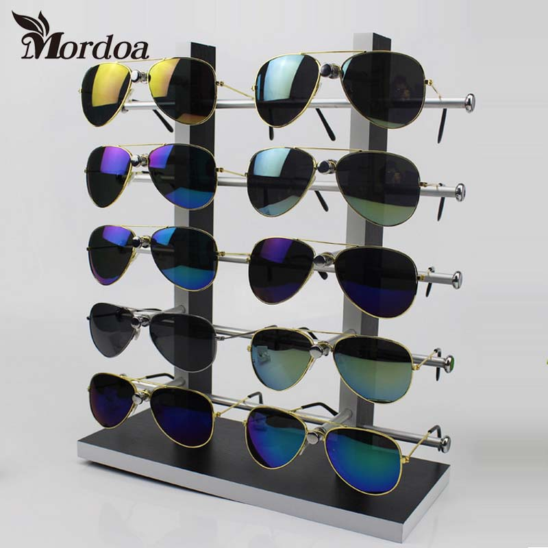 10 Pairs 3D Glasses Display Rack Wood Detachable Double Row Sunglasses Show Stand Receive Jewelry Eyeglasses Frame Display Shelf wood glasses frames carter sunglasses 2018 wooden sunglasses men clear gold retro fill prescription eyeglasses frame shades mens
