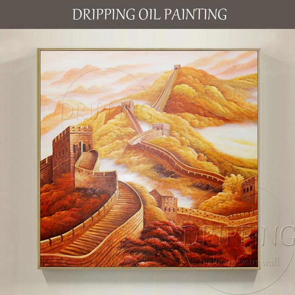 China Kunstenaar handgeschilderde Hoge Kwaliteit Speciale Landschap Grote Muur Olieverf Chinese Landschap Grote Muur Olieverf