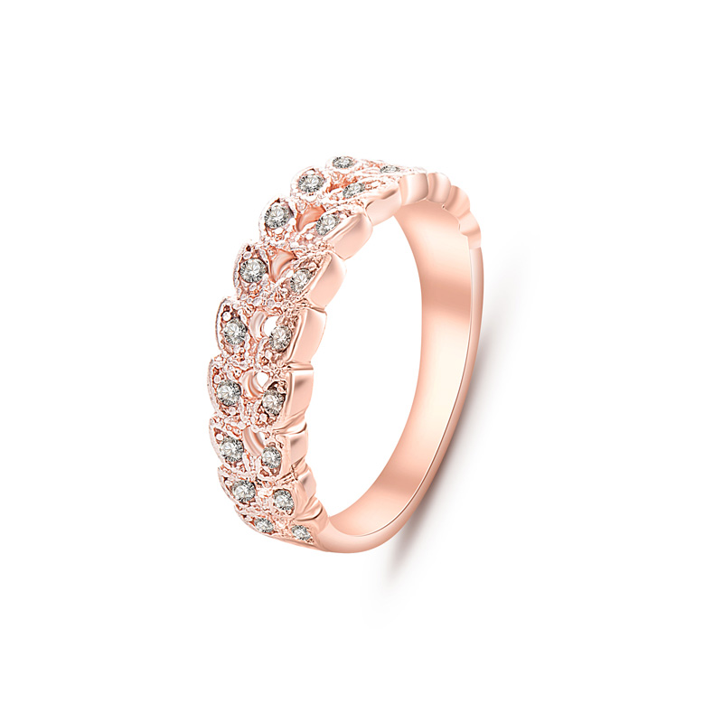 2016 Top Quality Fashion Statement Jewelry Rose Gold Colour Cubic Zirconia Crystal Leaf Rings For Women nj92