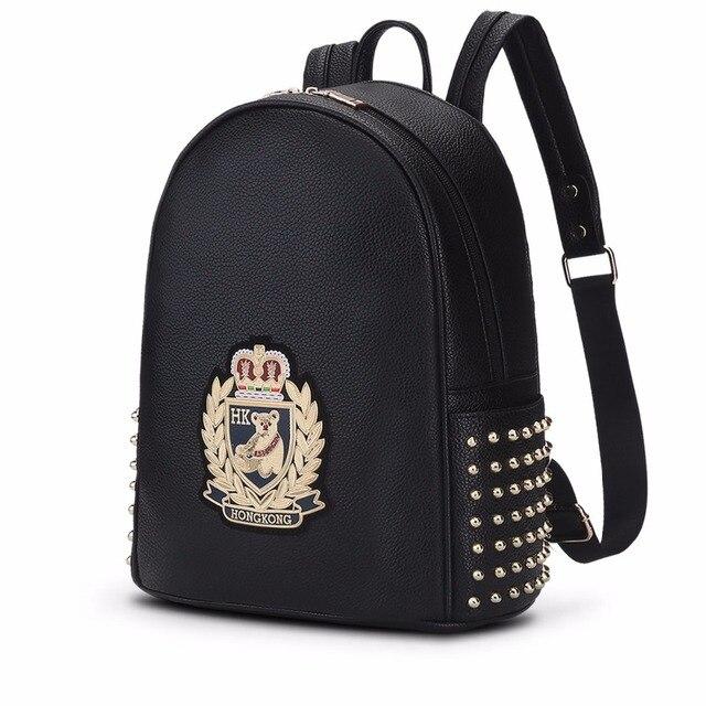 ee481abd8cba0 الكورية بنات مصمم الطباعة حقائب النساء أزياء حقائب مدرسية للمراهقين جلد  ظهره الإناث bagpack sac دوس