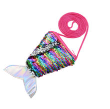 Mermaid Tail Sequins Coin Purse Women Small Bag Girls Fashion Long String Wallet Children Money Card Pocket Kids Gift1.28(China)