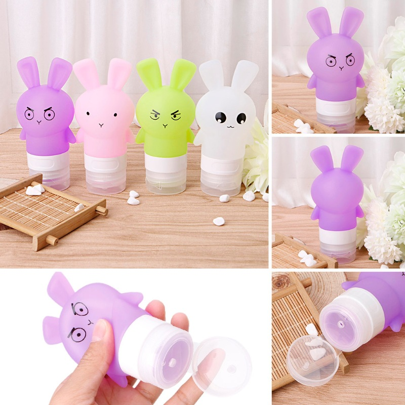 2018 New Travel Accessories 75ML Cute Rabbit Silicone Travel Bottles Candy Colors Cosmetic Shampoo Lotion Container