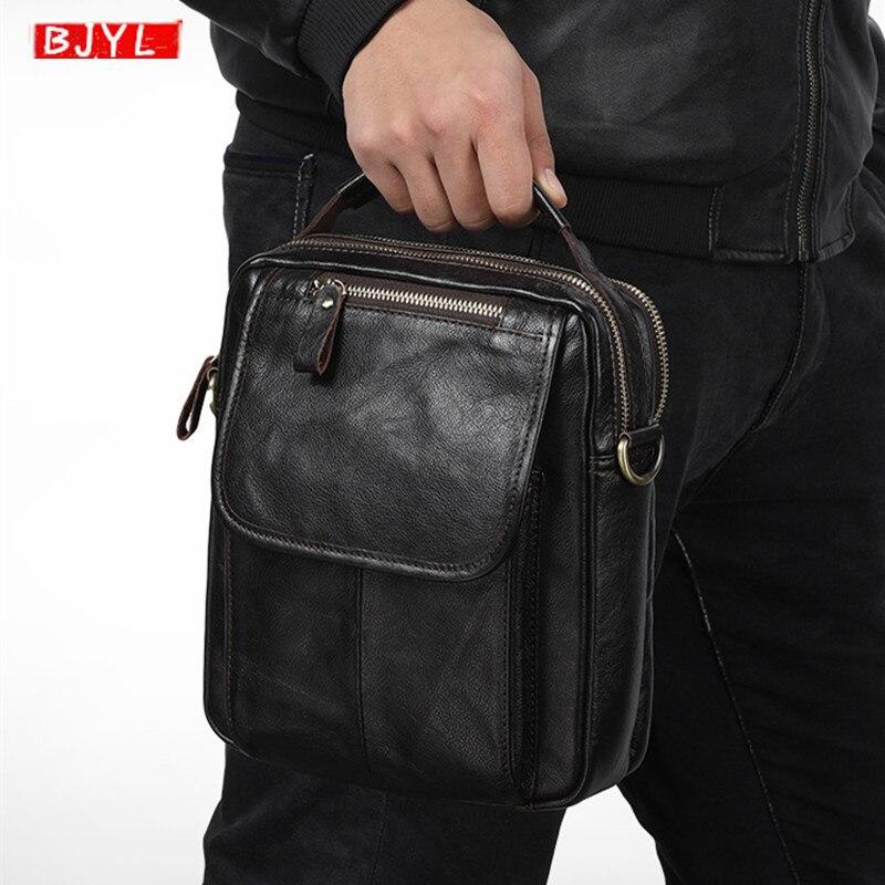 Nouveau Cuir Véritable homme sac bandoulière Mode décontracté noir vachette cire en cuir hommes sac à main Verticale sacs à bandoulière