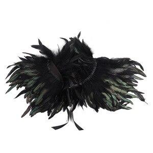 Image 3 - ファッション黒ヴィンテージゴシックビクトリア朝ナチュラルフェザー岬ショールとポンチョケープラップローブはチョーカー襟ハロウィン仮装パーティー
