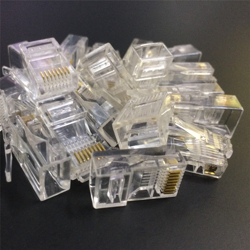 Factory price High Quality 10PCS Cat5 Cat5e Network Connector rj45 Metal Cable Modular Plug Terminals Terminals Drop Shipping