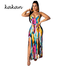 Kakan summer new womens print dress graffiti double slit sling backless irregular long