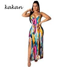 Kakan summer new women's print dress graffiti print double slit sling backless dress irregular long dress slit print long flowing wrap plunge dress