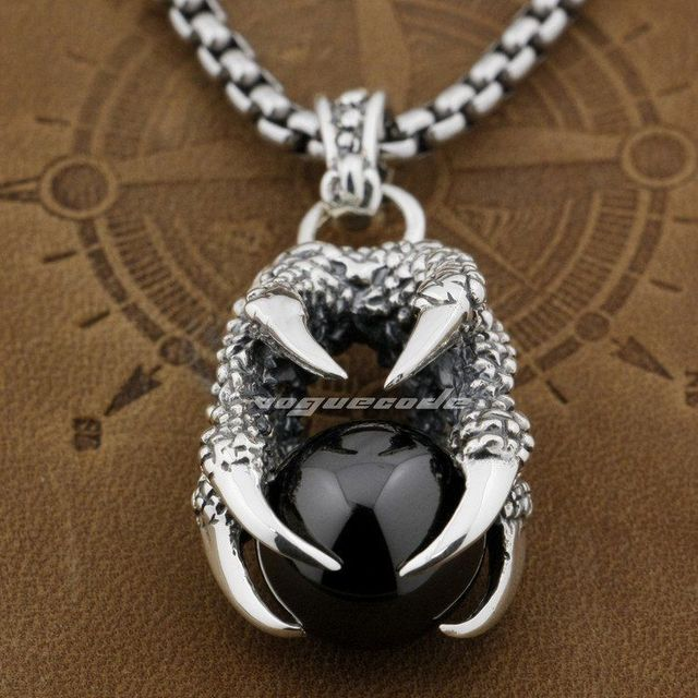Dragon claw dragon ball 925 sterling silver mens pendant 8c002 dragon claw dragon ball 925 sterling silver mens pendant 8c002necklace 24inch aloadofball Image collections