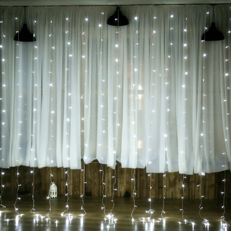 New Year 4.5M x 3M Outdoor Curtain Icicle 300LED String Lights 8 Modes Fairy Garland Home For Christmas Holiday Wedding Party