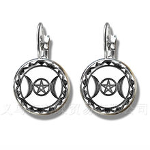 Triple Moon Goddess Stud Earrings Pentagram Witch Jewelry 16mm Glass Dome Wiccan Silver Plated Charm Wicca Jewelry For Women(China)
