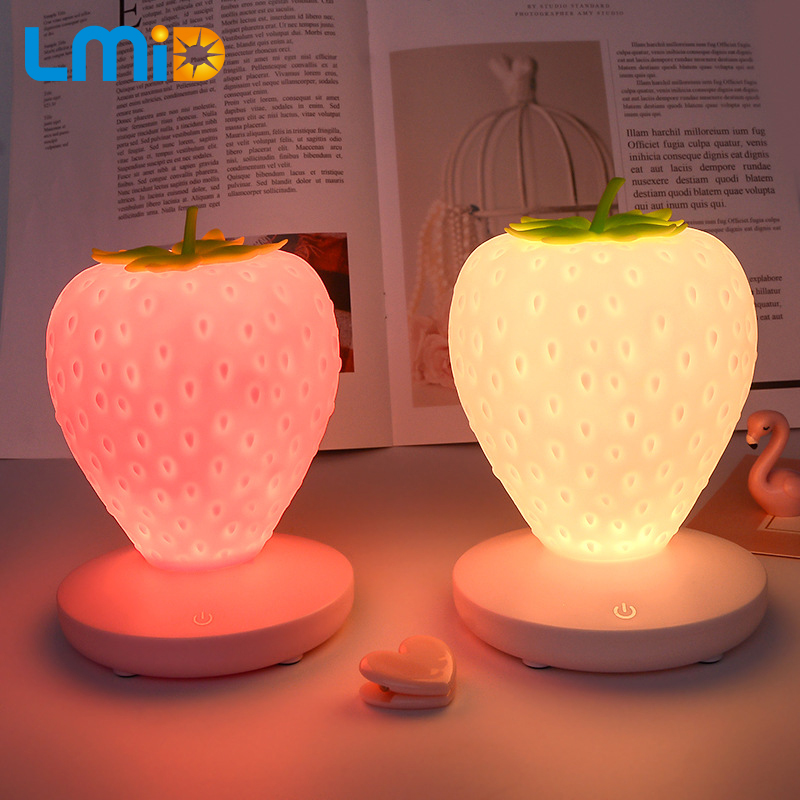 LMID Creative Night Lamp Strawberry Led Lamp Soft Silicone Toy Gift Light High Power Bright Desk Table Decor Night Lights