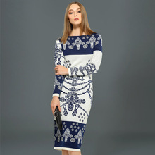 Special Offer Patchwork Plus Size Long Dress Winter Brand New Knitted Women Dress Wool A-line Slim Female Fashion Sweater