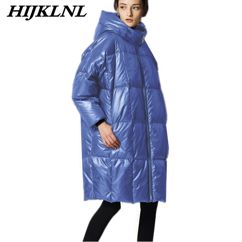 2019 New Women Winter Down Coat Loose Large Size Solid Long Down Jacket Women Thicken Hooded Coat Fashion Warm Outerwear CW073