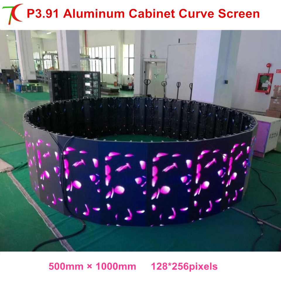 IP25 Curve Led Screen P3.91 Indoor 500*1000mm Die-casting Aluminum Rental Cabinet Led Display
