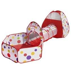 A barraca redonda dobrável do jogo da barraca do túnel três-parte ajustou a piscina da bola do oceano interno/exterior brinca a piscina da bola da casa do jogo para crianças do bebê