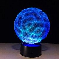 Cerveau Acrylique Petite Lumière de Nuit 3D Stéréo Illusion Lampe 7 Changement de Couleur USB À Distance Tactile Switch Creative Personnalité Cadeaux
