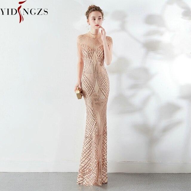 YIDINGZS Sequins Evening Dress See-through Back Elegant Beading Long Evening Party Dresses 5