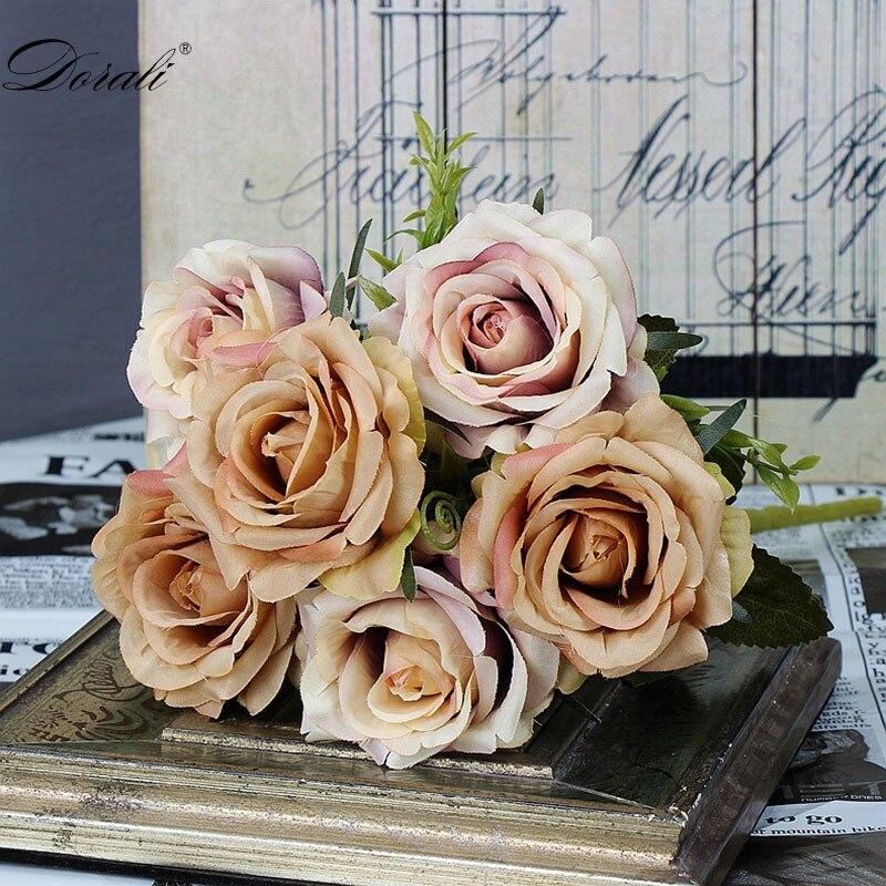 6 голов, белые розы, искусственные цветы, шелк, высокое качество, для свадебного украшения, зимние искусственные большие цветы, красные для домашнего декора, осень - Цвет: coffee flowers