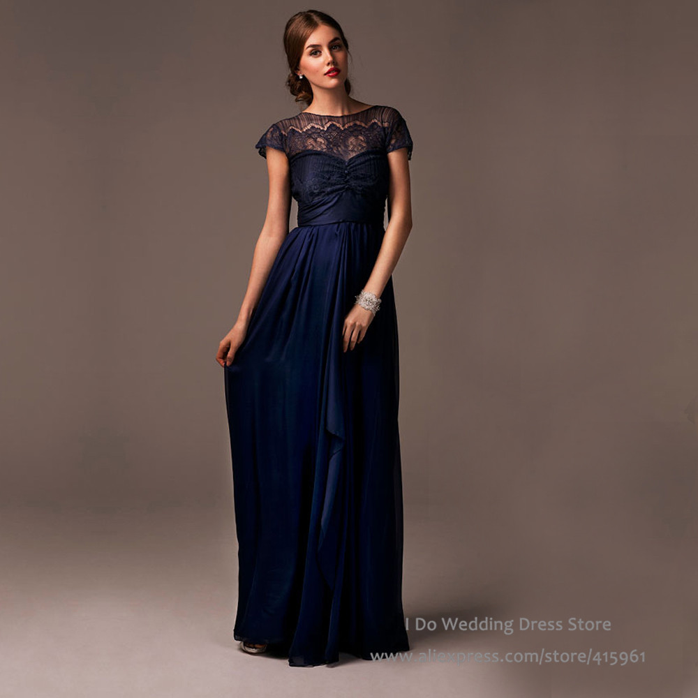 Wedding Navy Blue Lace Bridesmaid Dresses aliexpress com buy 2016 new arrival navy blue lace bridesmaid dress scoop long cap sleeve wedding guest sash online shop b2
