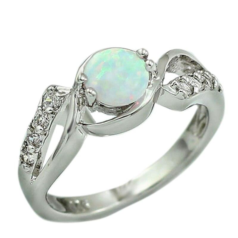 Analytisch Haimis Freies Geschenk Box Elegante 6mm Blau Feuer Opal Steine Klaue Inlay Prong Einstellung Opal Frauen Ringe Größe 6 7 8 9 49 W