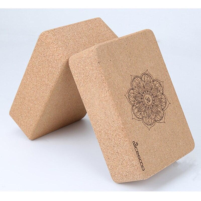 2 Pcs Natural Cork Yoga Brick Eco-Fridenly High Density Non-slip Dance Pilates Leg Pressing Exercise Yoga Block Yoga Equipments