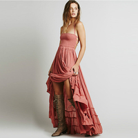 2019 Women Dress Sexy Dress Mori Girl Pink Boho Chic Long Halter Chiffon Women Backless elegant dress