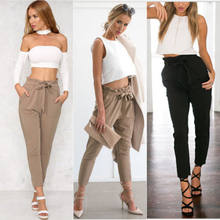 2017 New Summer European Style High Waist Women Palazzo Harem Pants Loose Female Stretch Trouser Elastic Sweatpant(China)