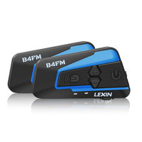 2PCS Lexin With FM Motorcycle Bluetooth Helmet Headsets Intercom For 4 Rider Talking At The Same