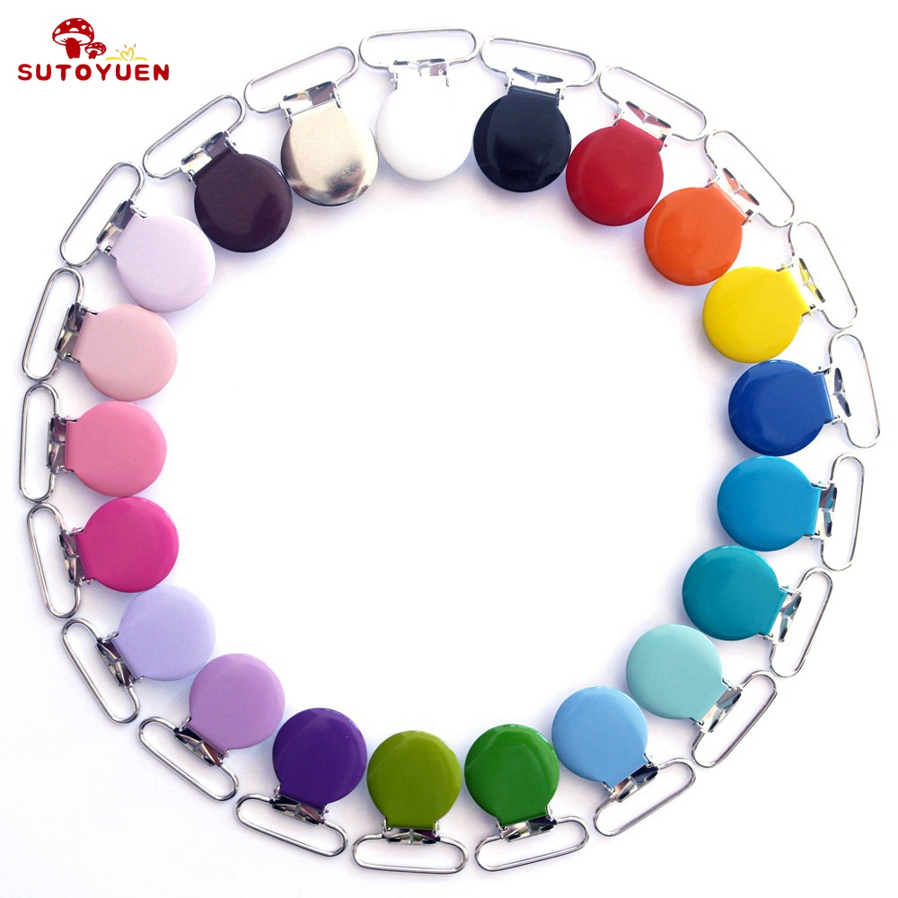 Free Shipping 50 Pcs Sutoyuen 1'' 25mm 21 Colors Round Pacifier Clips / Garment Enamel Metal Suspender Clips Baby Dummy Holder