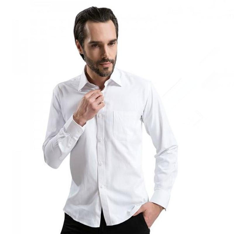 Nieuw aangekomen 2018 heren shirt met lange mouw Casual pure kleur / - Herenkleding - Foto 5